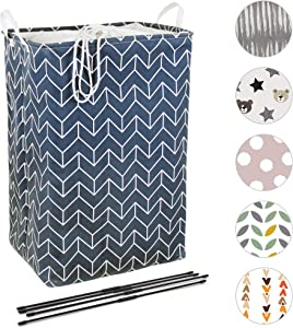 Quubik Design - Large Laundry Hamper - 24in Tall Basket for Laundry, Bedroom or Bathroom - Premium Thickened Canvas Clothes Hamper - Includes Support Rods, Solid Base and Top Cover