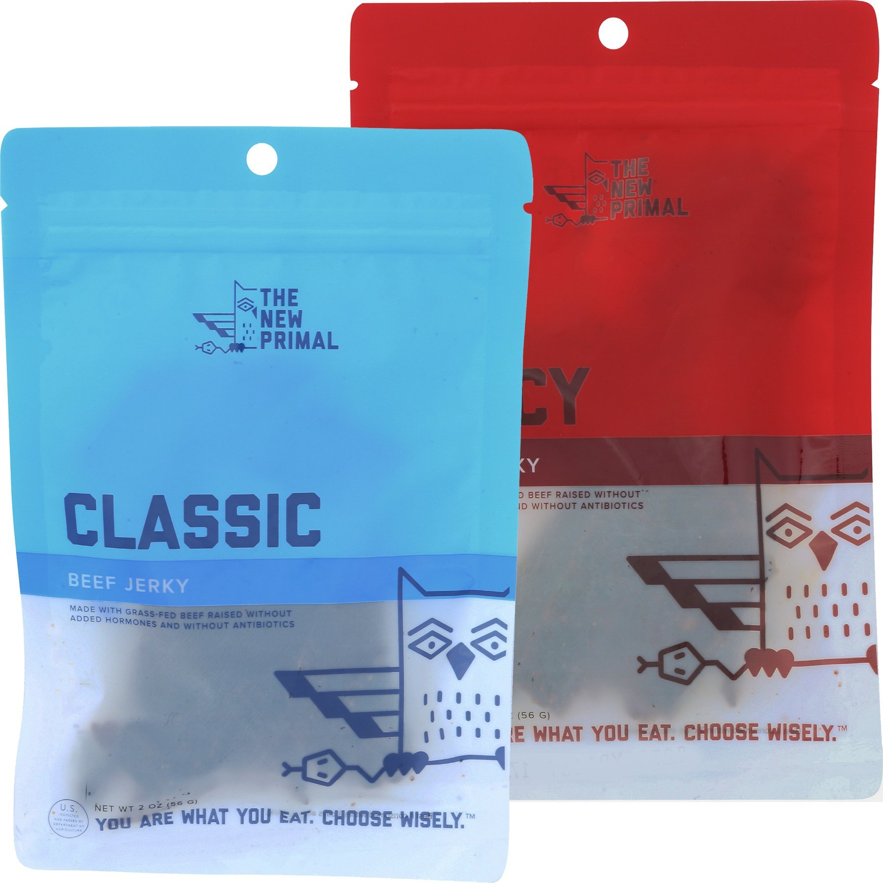 The New Primal – 100% Grass-fed Beef Jerky Trial Pack, Classic and Spicy, 2.0 oz, Pack of 2