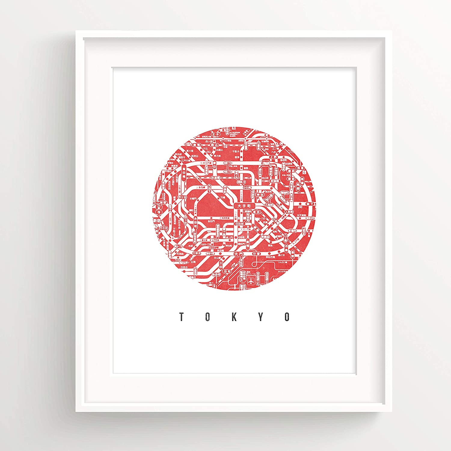 Urban Decal Tokyo City Map Print Modern Art Design Jpan Map Home Office Decor Poster - Red 11x14 Inches (NO Frame)