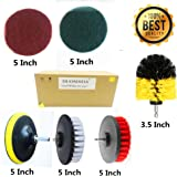 6 Piece Drill Brush Attachments: 5 Inch Drill Brushes & Scouring Pads & Suction Cup - Clean Tough Dirt - for Marble/Granite Tile, Grout, Rim, Kitchen Sink,Carpet, Coated Doors, Fiberglass Tubs