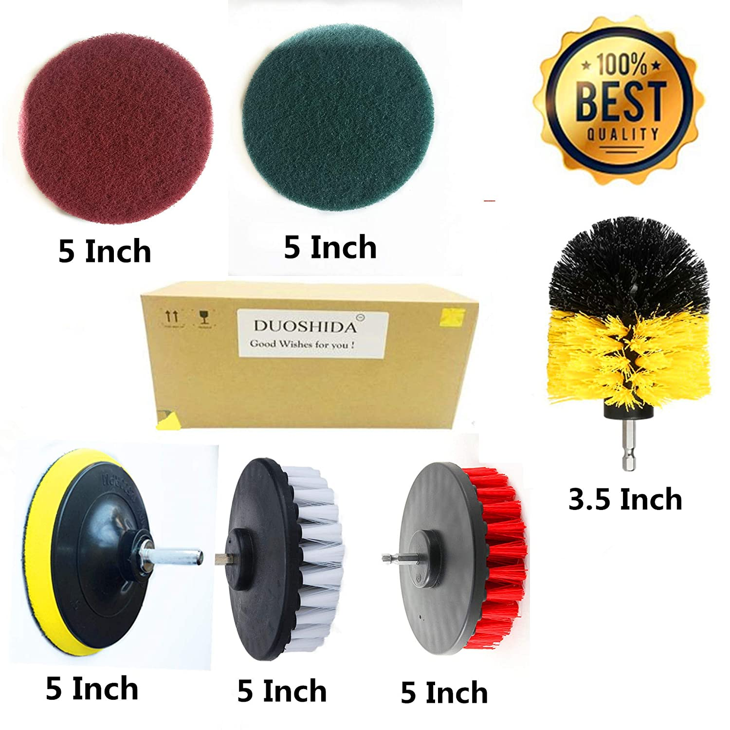 6 Piece Drill Brush Attachments: 5 inch Drill Brushes & Scouring Pads & Suction Cup - Clean Tough Dirt - for Marble/Granite Tile, Grout, Rim, Kitchen Sink,Carpet, Coated Doors, Fiberglass Tubs Hua Hengshun Co. ltd
