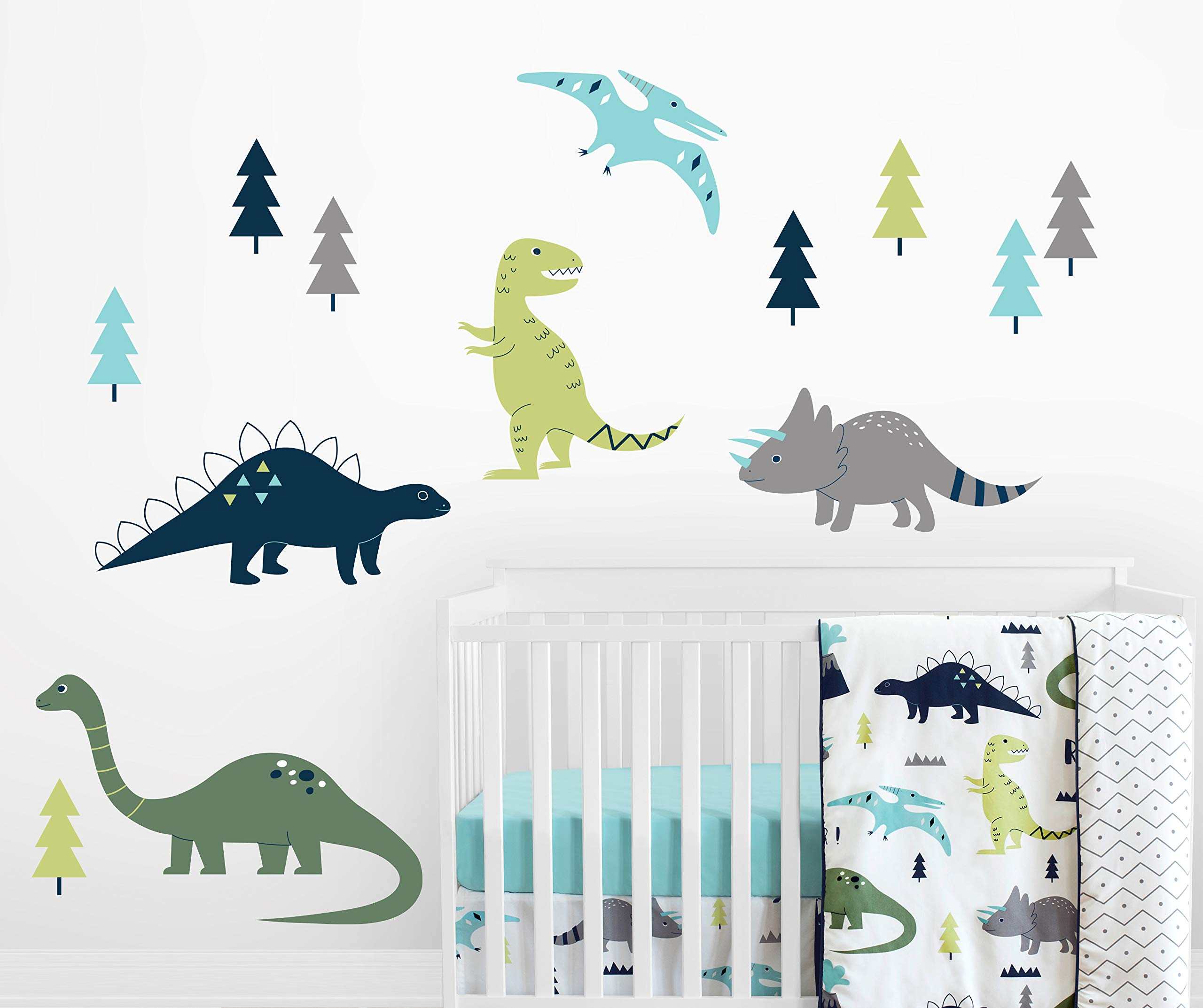 Sweet Jojo Designs Navy Blue, Green and Grey Dino Large Peel and Stick Wall Mural Decal Stickers Art Nursery Decor for Mod Dinosaur Collection - Set of 2 Sheets by Sweet Jojo Designs