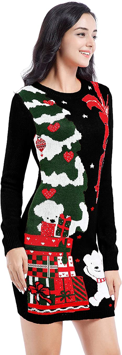 Ugly Christmas Sweater for Women Vintage Funny Merry Knit