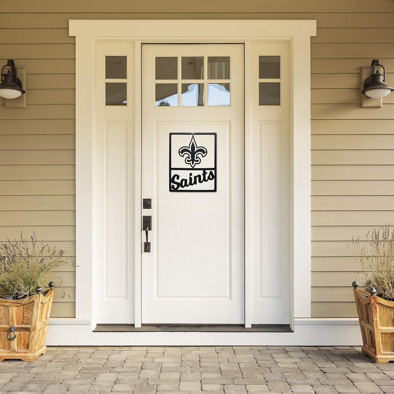 """Littlearth NFL New Orleans Saints Unisex NFL New Orleans Saints Metal Team Sign, Black, 14"""" L x 11"""" W"""