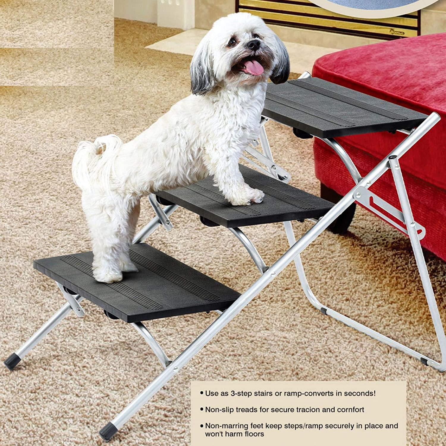 Car Dog Steps,Dog Stairs for Large Dog,Lightweight Portable Folding Pet Ramp with Nonslip Surface for High Beds Supports 100 Lbs Cars and SUV Trucks