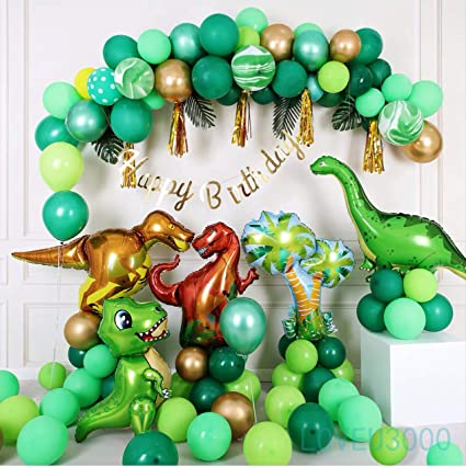 Amazon Com Dinosaur Birthday Party Supplies Dinosaur Party Decorations Little Dino Balloons Set Included 110 Pcs With Dino Masks Free Air Pump And Tape Dinosaur Themed Birthday Decorations Health Personal Care