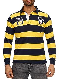 (Slim Fit) Chemise Manches Courtes Stretch Rayé Sportif, T-Shirt avec Broderie Détaillée Et col Polo Classique, de Base