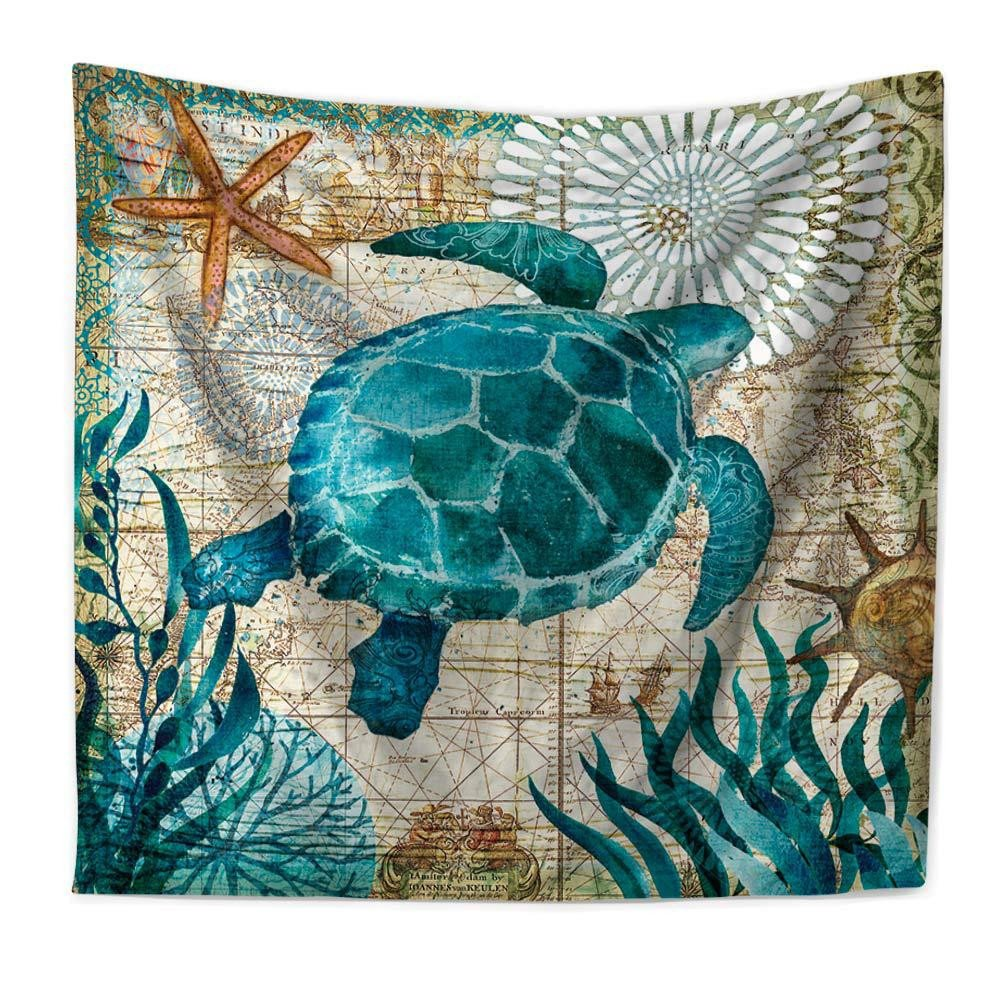 RFVBNM Tapestry,Hippie Hippy Tapestries,Mediterranean Marine Animals Blue sea turtle Printing Home Tapestry,Cotton Bedsheet,sofa cover,Bedding Bedspread,Picnic Beach Sheet,Table Cloth,150130cm