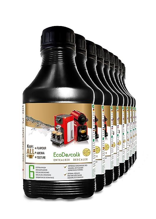 EcoDescalk, 9 x 500 ml. Descalcificador para todas las cafeteras. Todas las marcas, Nespresso, Krups, DeLonghi, Tassimo.... 6 descalcificaciones. ...