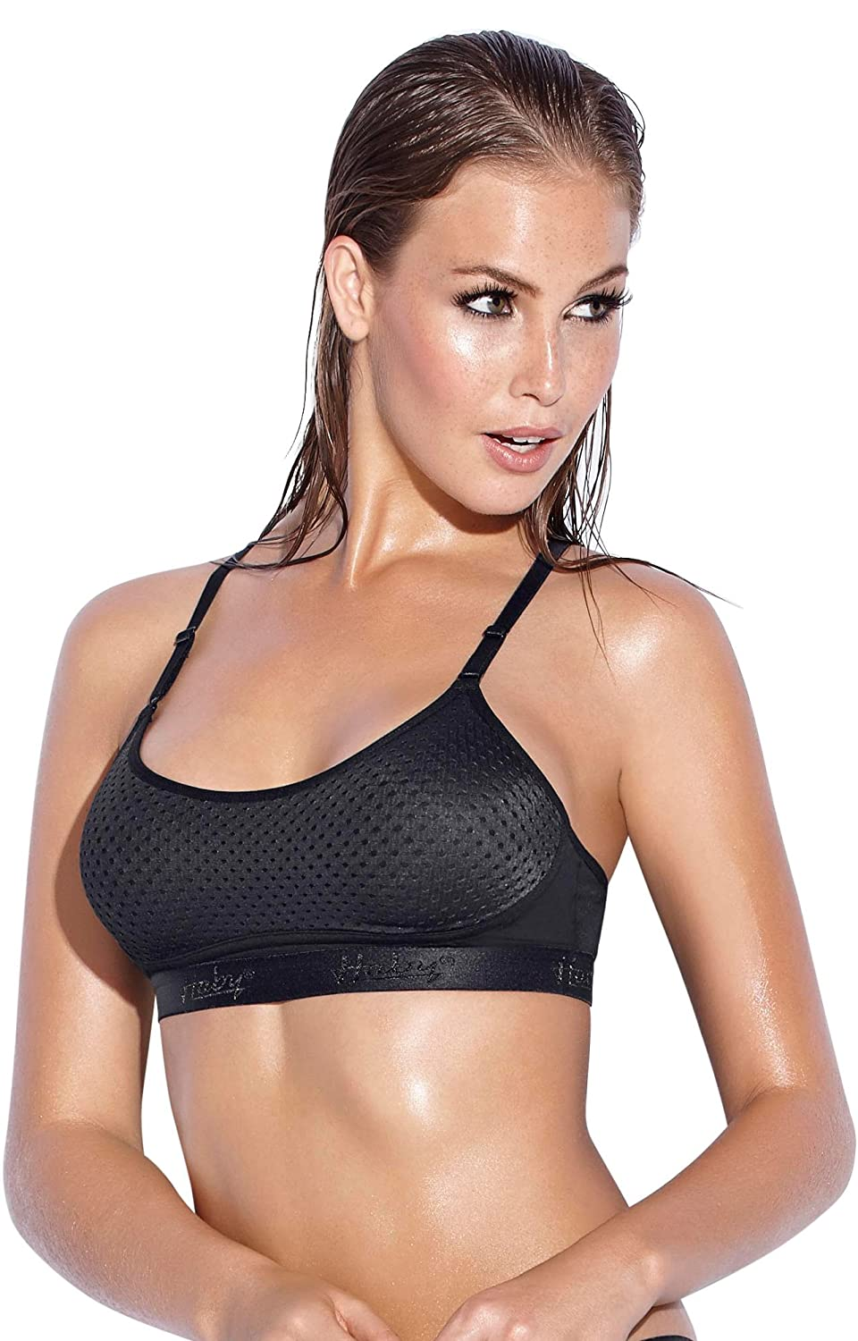 ebfe67214 Haby Women s Wirefree Racerback Sport Bra B Cup Adjustable Straps High  Quality at Amazon Women s Clothing store