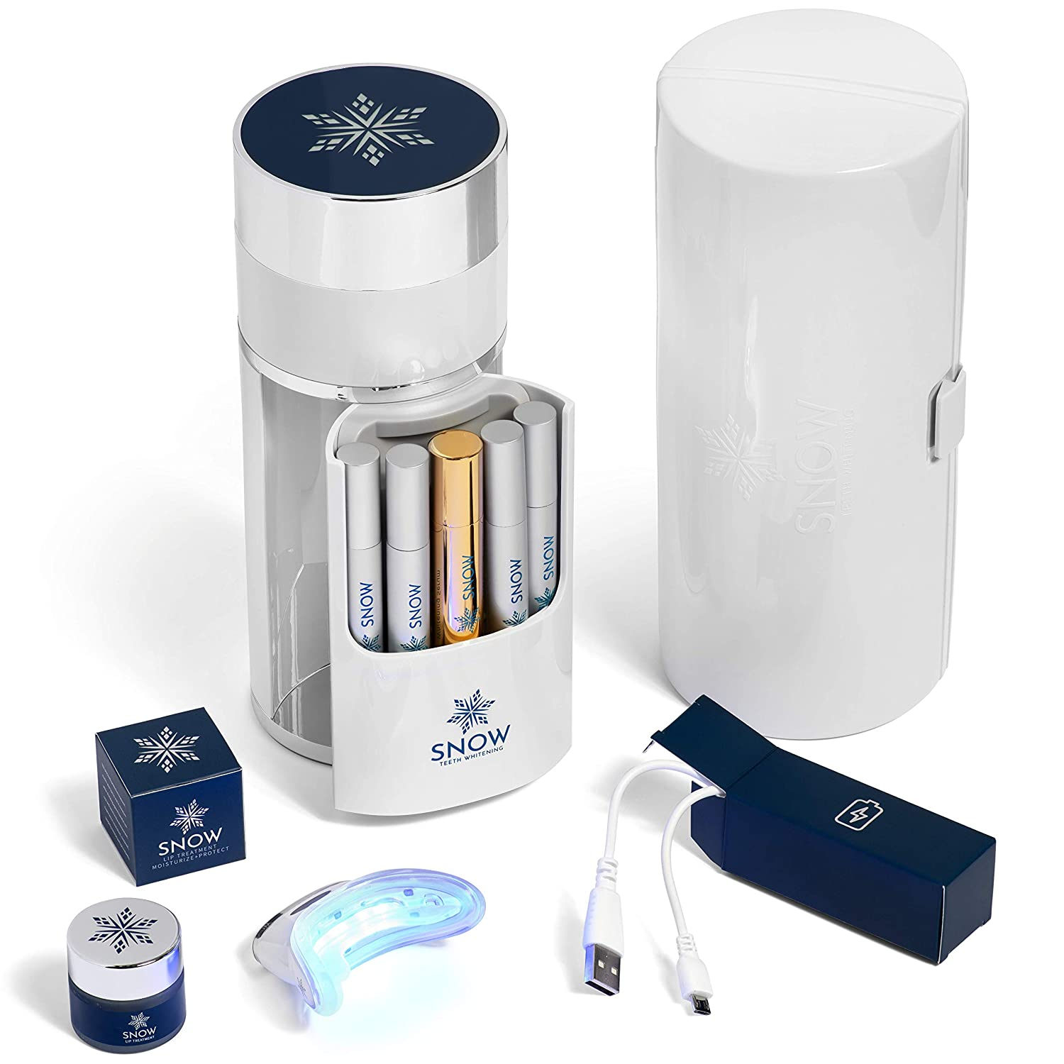 Snow Wireless Teeth Whitening Kit - All-in-One System with LED Light - Natural White Teeth At-Home in Minutes