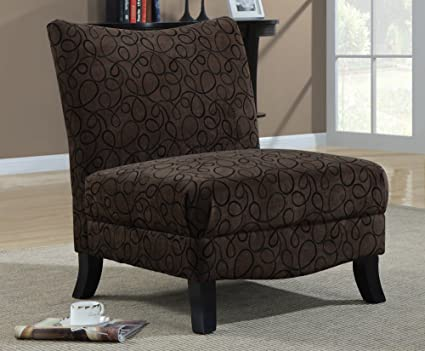 Cool Monarch Specialties 8045 Swirl Fabric Armless Accent Chair Brown Alphanode Cool Chair Designs And Ideas Alphanodeonline