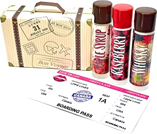product image for Lickerlips World Flavors Lip Balm (Canada) Pack | Maple Syrup Raspberry Whisky Flavor | Beeswax Mango Cocoa Butter Jojoba Hempseed Oils Vitamin E | 3 tubes (4 grams each) in retro Suitcase