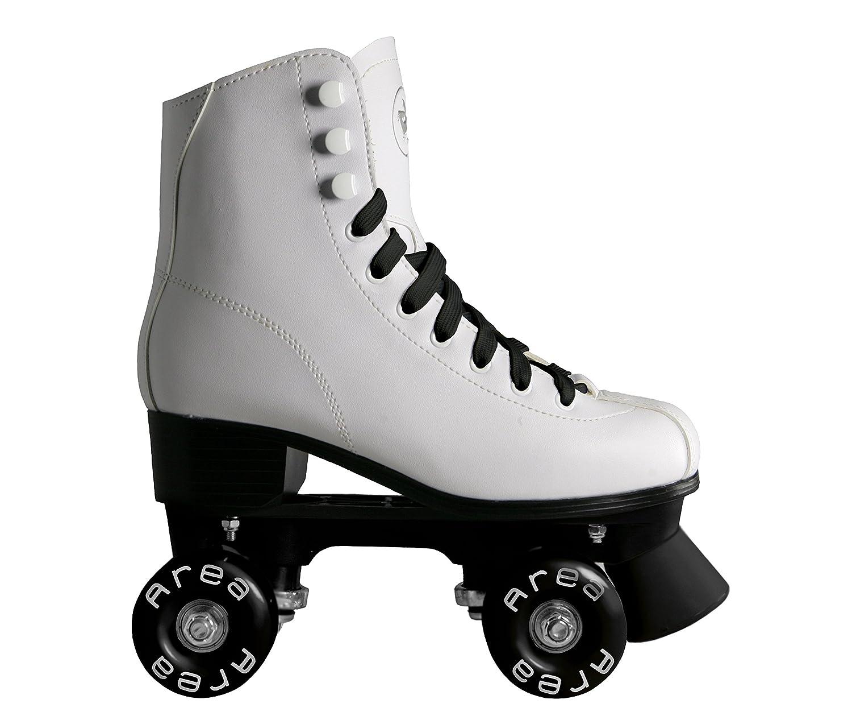 Patines de ruedas para patinaje artístico, con botines blancos con ruedas y cordones celestes, mujer niña, BIANCO, 33: Amazon.es: Deportes y aire libre