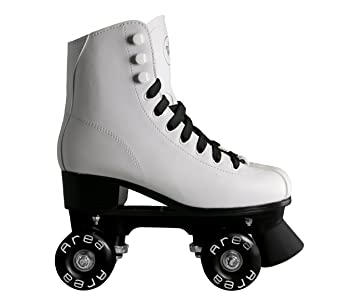 Patines de ruedas para patinaje artístico, con botines blancos con ruedas y cordones celestes, mujer niña, BIANCO, 35: Amazon.es: Deportes y aire libre