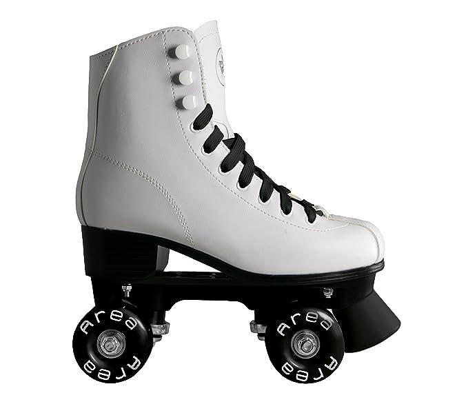 Patines de ruedas para patinaje artístico, con botines blancos con ruedas y cordones celestes