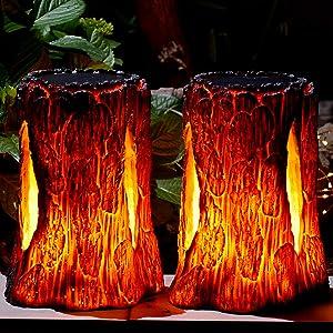 TONULAX Solar Lights Outdoor,Stump On Fire Torch Lights,Flickering Flame Lantern Lights,Solar Powered Landscape Decoration Lighting for Garden Patio Pathway Deck Yard Decor(2 Pack)