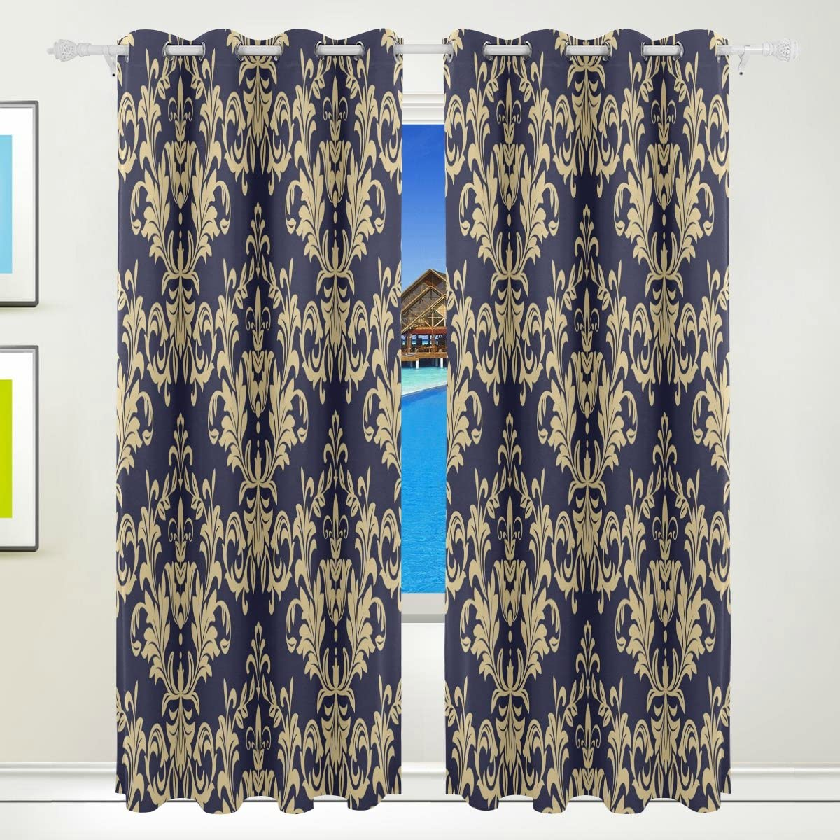 Amazon.com: Use4 Gold Black Blue Damask Window Curtain Panels Drape 84 x 55  inches for Office Living Dining Bedroom Window Room Decoration: Home &  Kitchen