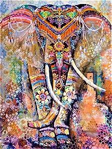 DIY 5D Diamond Painting Kits for Adults, Elephant Diamond Art by Number Kits with Rhinestone Gem Art Painting Full Drill Round Diamond Mandala Elephant, Perfect for Home Wall Decor(11.8 X 15.7 Inch)