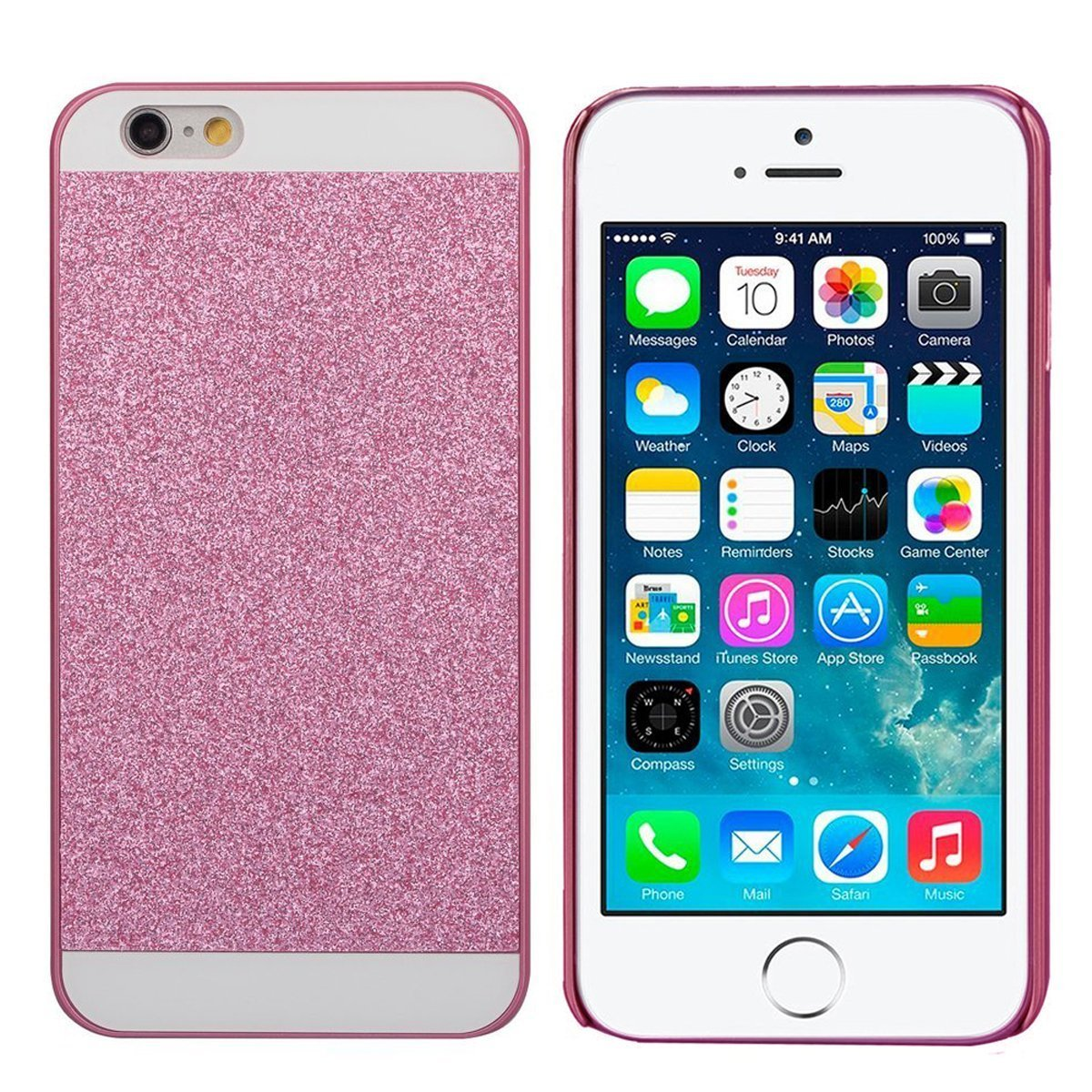 de659b2f2b Amazon.com  IKASEFU Hard Back Cover with Soft TPU Bumper Full Body Shiny  Glitter Sparkle Cover Case Compatible with iPhone 6 Plus 5.5 Inch (Pink)   Cell ...