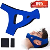JRG Anti Snoring Chin Strap, Comfortable & Adjustable Snoring Relief, Non-Odour Fabric Snore Stopper for Men and Women (Blue)