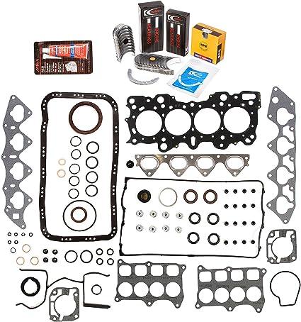 Standard Size Main Rod Bearings Evergreen Engine Rering Kit FSBRR4008EVE\0\0\0 Fits 94-01 Acura Integra B18C1 B18C5 Full Gasket Set Standard Size Piston Rings