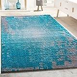 designer teppich wohnzimmer vintage mit splash muster in grau trkis meliert grsse80x150 cm