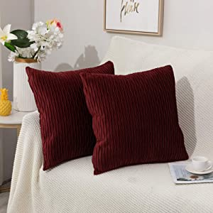 Ocosy Pack of 2 Striped Decorative Throw Pillow Covers, Velvet Solid Color Throw Pillow Cases Cushion Coversfor Farmhouse Couch (Brown Red, 1818 Inch)