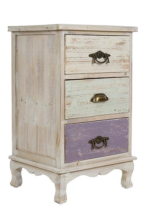 elbmöbel Kommode Schrank aus Holz mit Schubladen Landhaus Shabby Chic  Vintage weiß bunt (H69 x B42 x T35)
