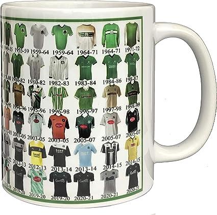 Plymouth Argyle taza taza de cerámica de Plymouth camisa de la historia del fútbol taza camisas a lo largo del tiempo