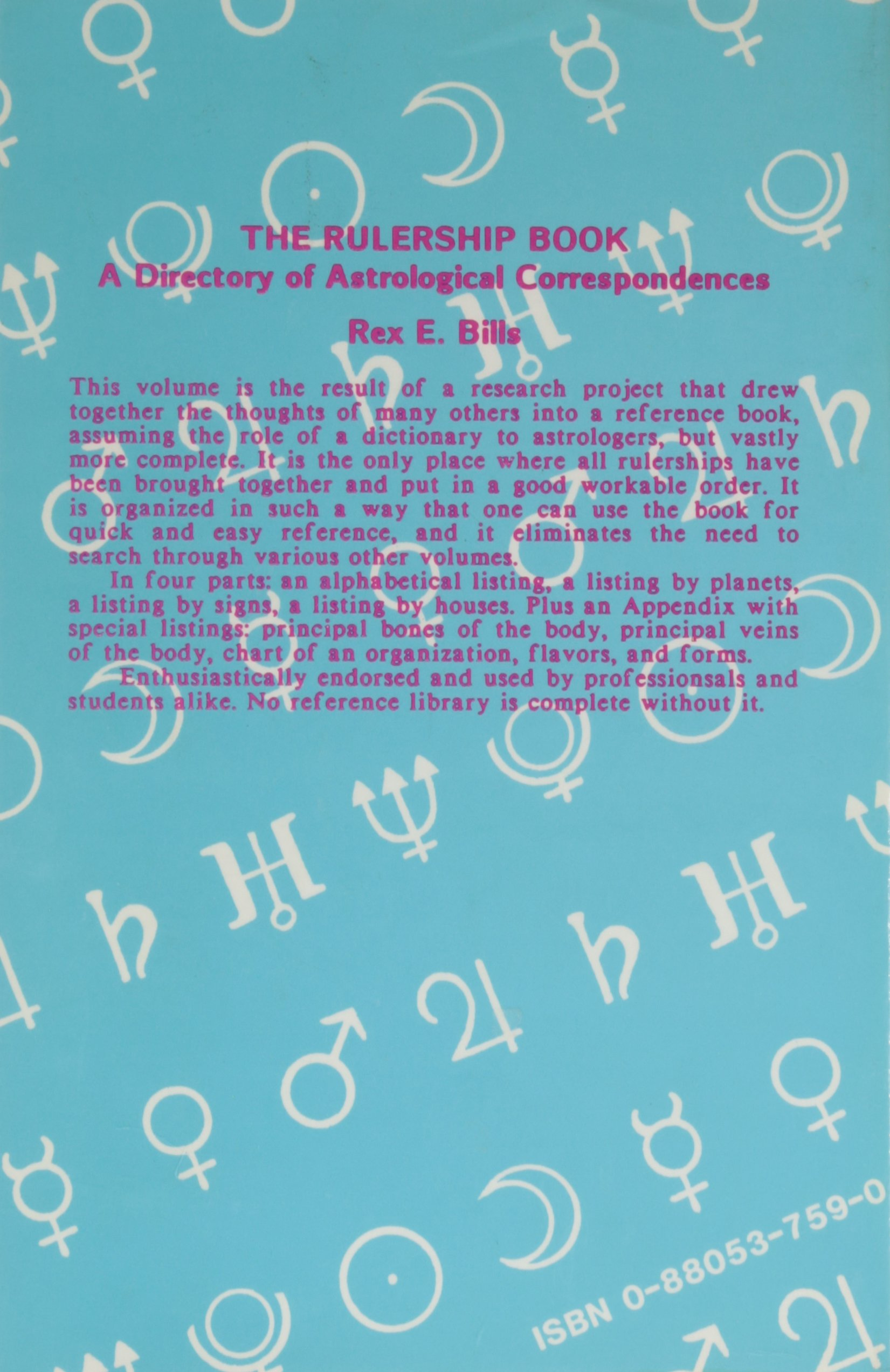 The Rulership Book - A Directory of Astrological