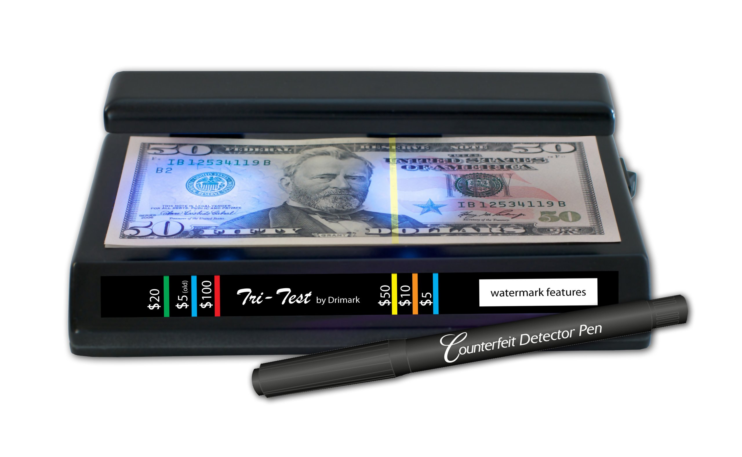 Dri Mark Products Tri-Test Ultraviolet Counterfeit Detection System, Black (351TRI)