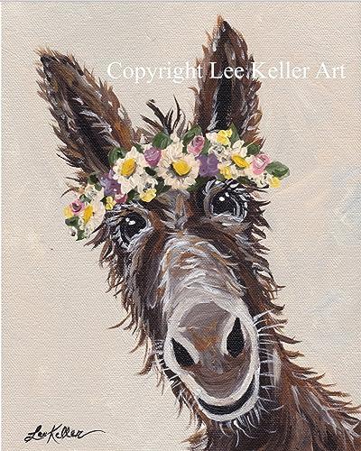 23f5e312 Amazon.com: Donkey art Print, Donkey with Flower Crown: Handmade