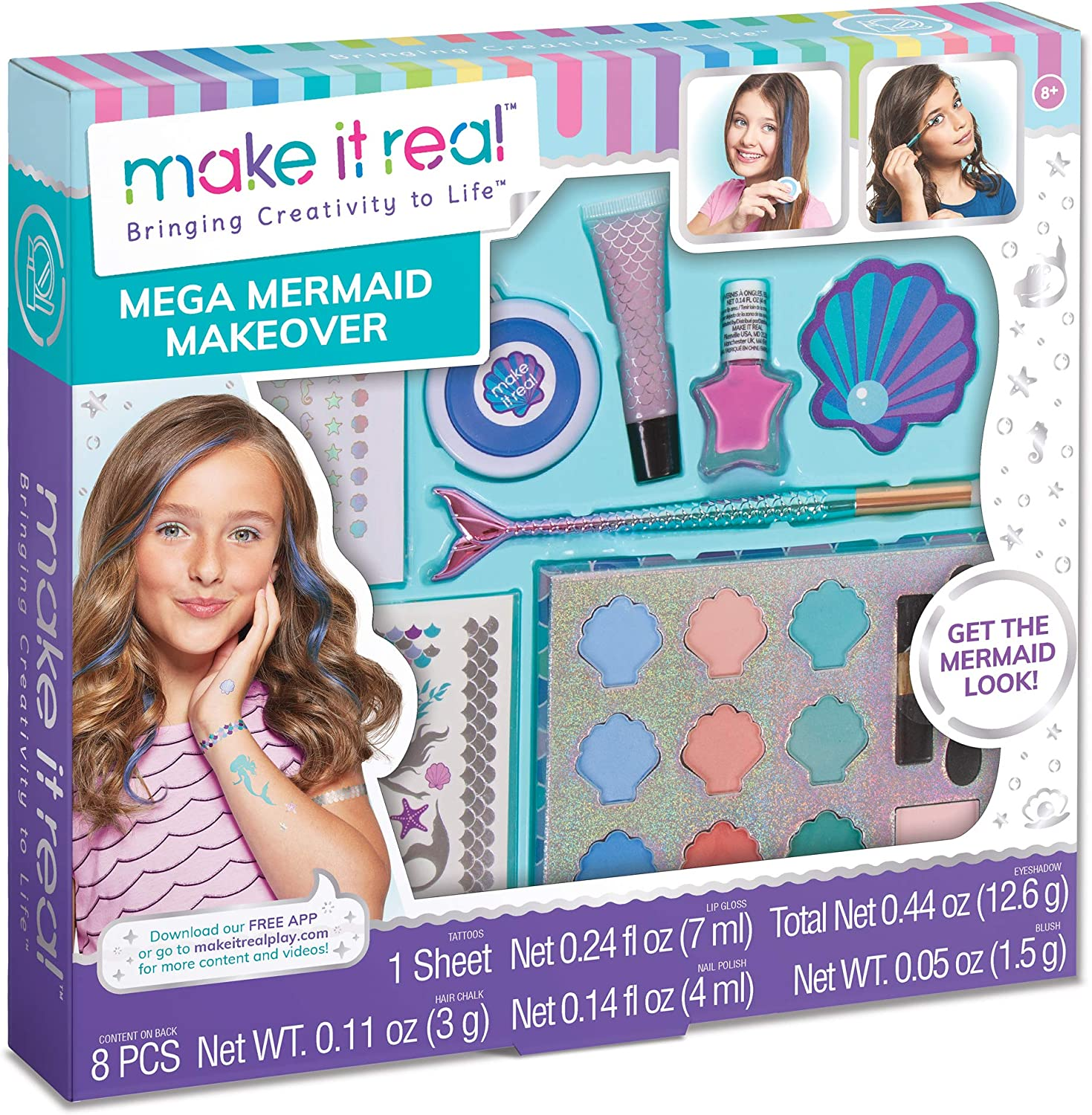 Make It Real – Mega Mermaid Makeover. Mermaid Themed Girls Makeup Kit. Starter Cosmetic Set for Kids and Tweens. Includes Case, Mirror, Eye Shadow, Blush, Mermaid Brushes, Lip Gloss, Nail Polish