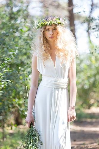 Amazon Com Rustic Chic Simple Ivory Wedding Dress Handmade