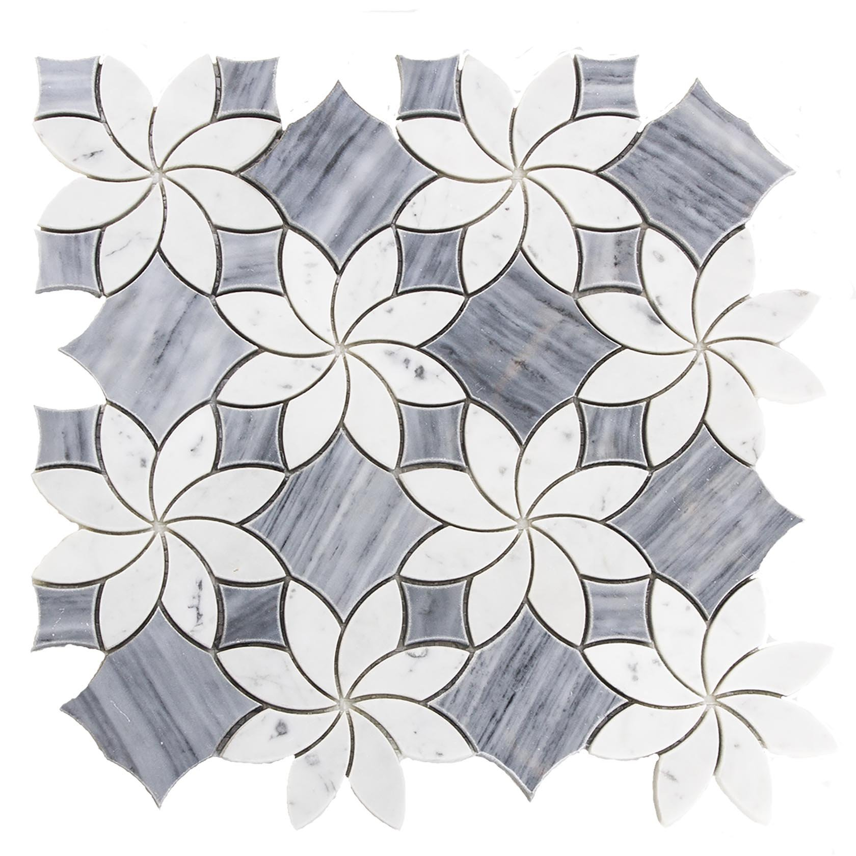 Waterjet Design Marble Mosaic Tile, WJM 1001 - Blossom, 11-1/2''X11-1/2'', Polished (Single Seet) by Waterjet Design Marble Mosaic Tile