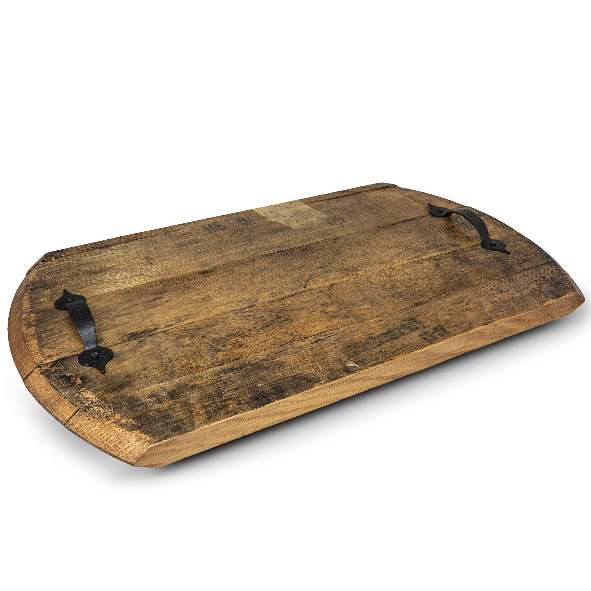 Reclaimed Rustic Bourbon Barrel Serving Tray with Handles- Made in USA from Genuine Oak Wood Barrels
