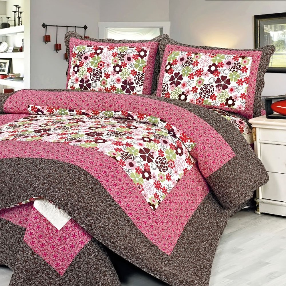 Cotton 3PC Floral Vermicelli-Quilted Printed Quilt Set