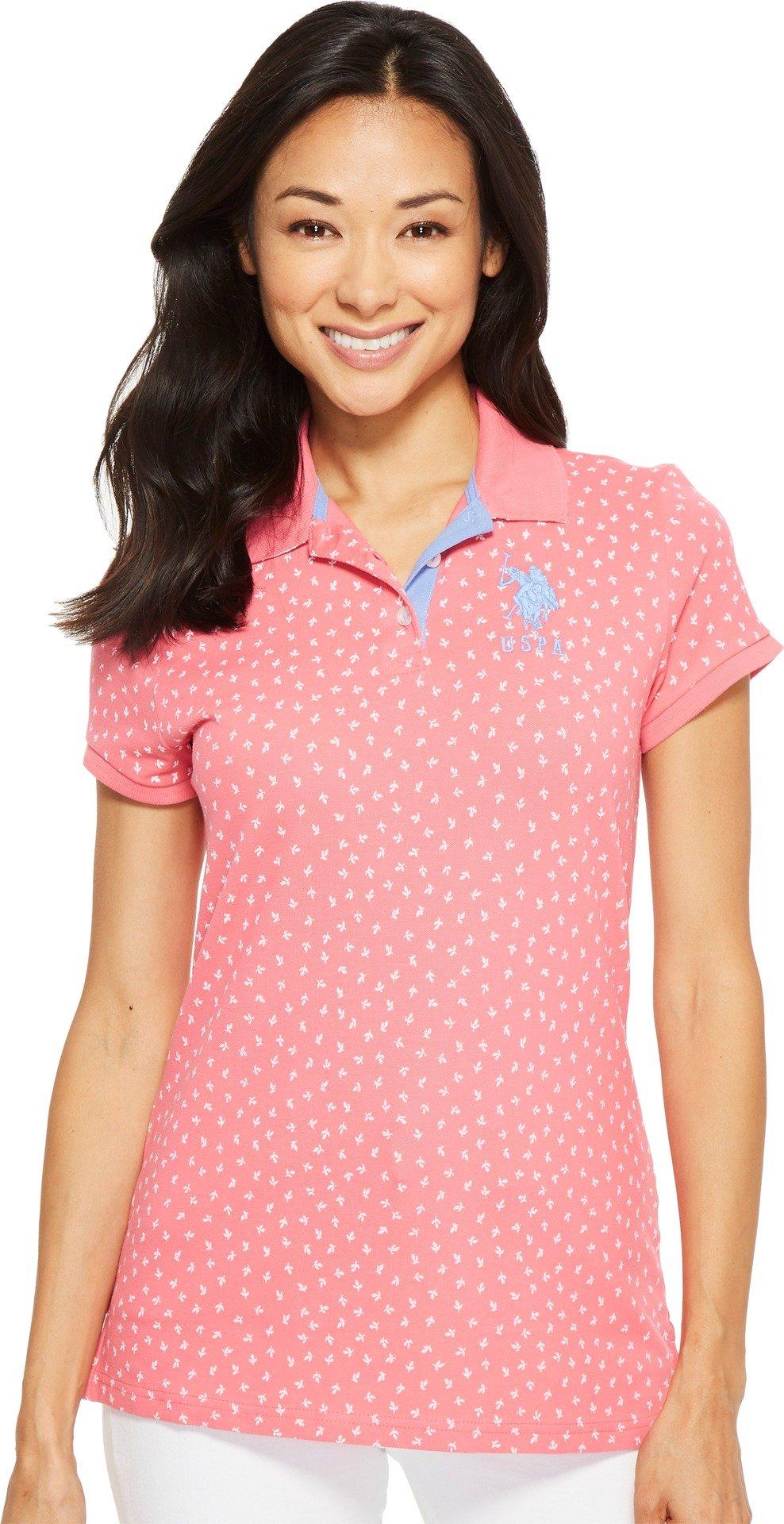 U.S. Polo Assn. Women's Short Sleeve Fashion Polo Shirt, Fierce Pink, M