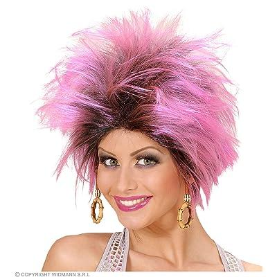 WIDMANN Urban Vibe Wig W/Earrings - Pink/Black: Juguetes y juegos