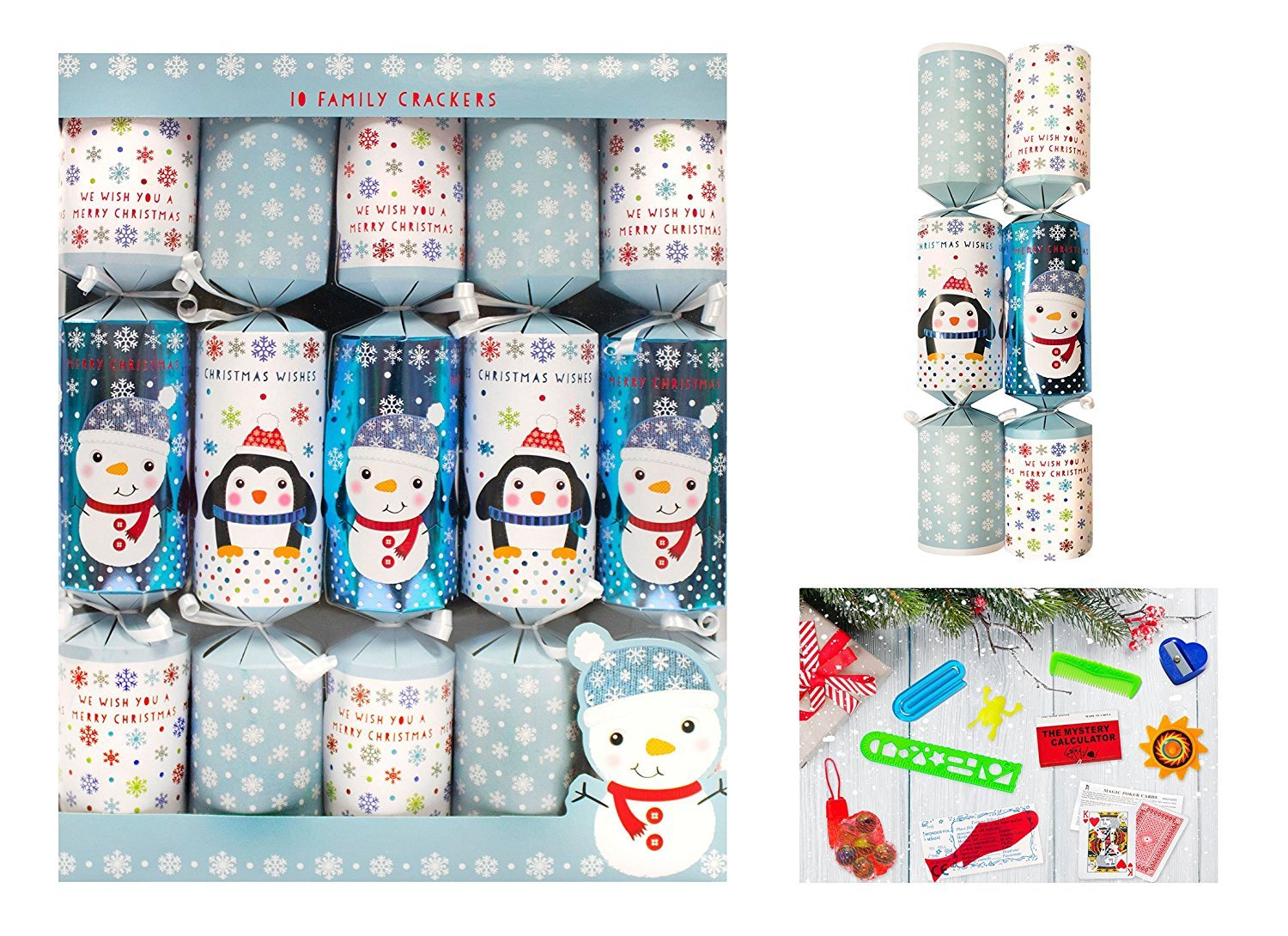 Motto Christmas Luxury Crackers Box of 12-5 Designs Novelty Hat and Snap