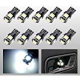 EVITEK 10x T10 Wedge Type Auto LED Bulbs, W5W, 147, 152, 158, 159, 161, 168, 184, 192, 193, 194 2825, 5SMD White LED Car Lights Bulb