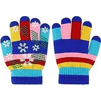 Guantes de invierno para niños Guantes de rayas de colores de punto Guantes mágicos para dedos completos Guantes…