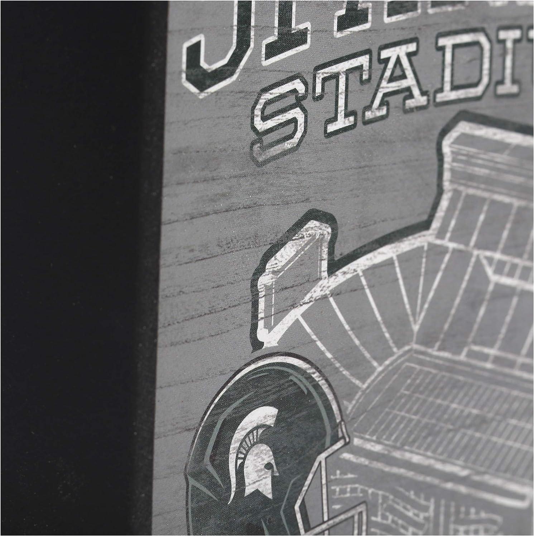 Open Road Brands NCAA Collegiate University Football Stadium 6x6 Wood Wall D/écor
