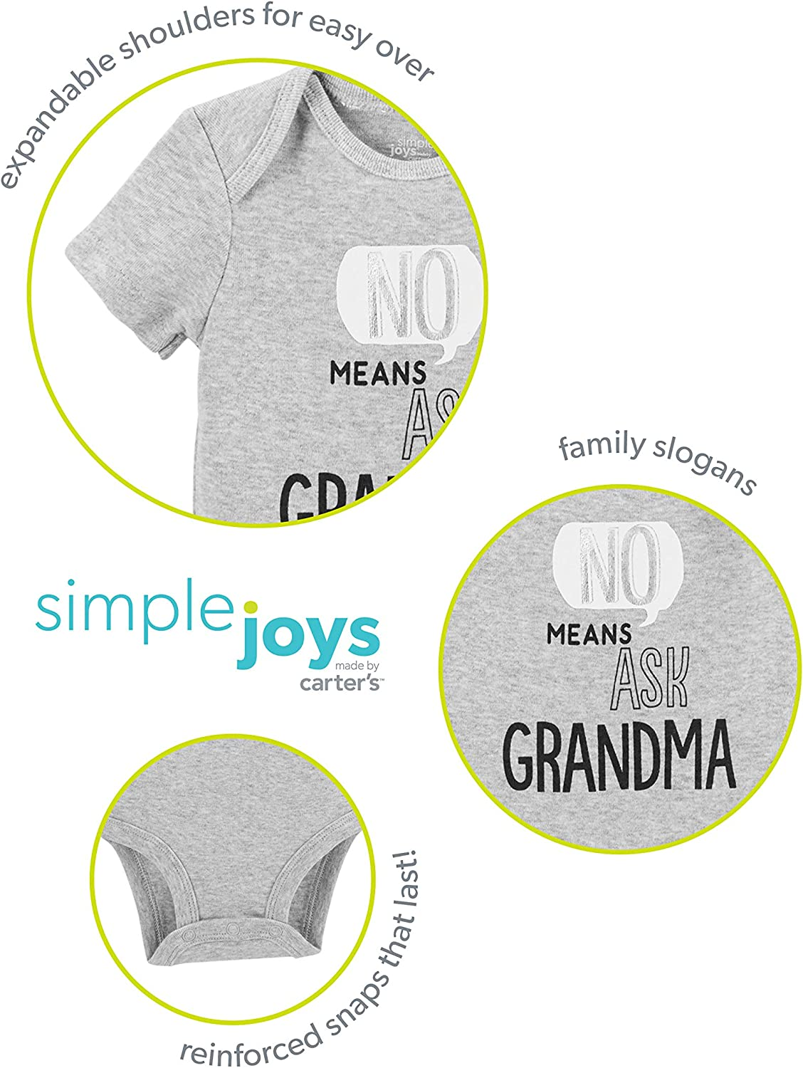 Pack of 3 Simple Joys by Carters Baby Boys 3-Pack Short-Sleeve Family Slogan Bodysuits