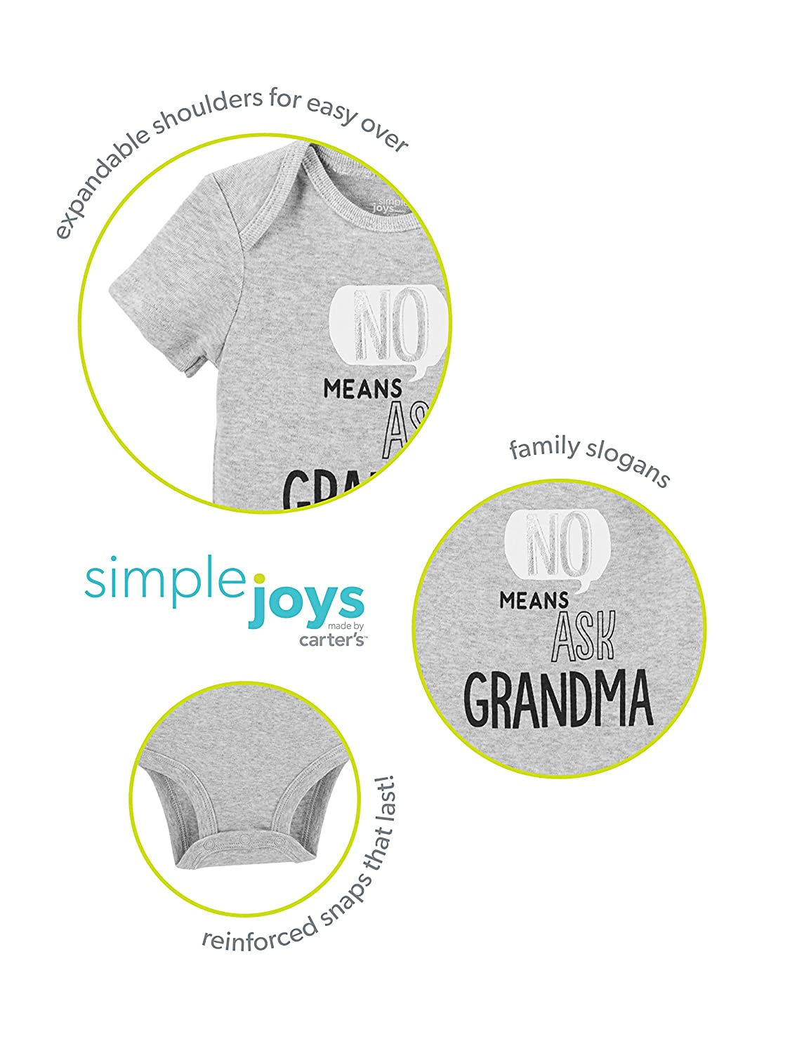 Simple Joys by Carters Baby 3-Pack Short-Sleeve Family Slogan Bodysuits