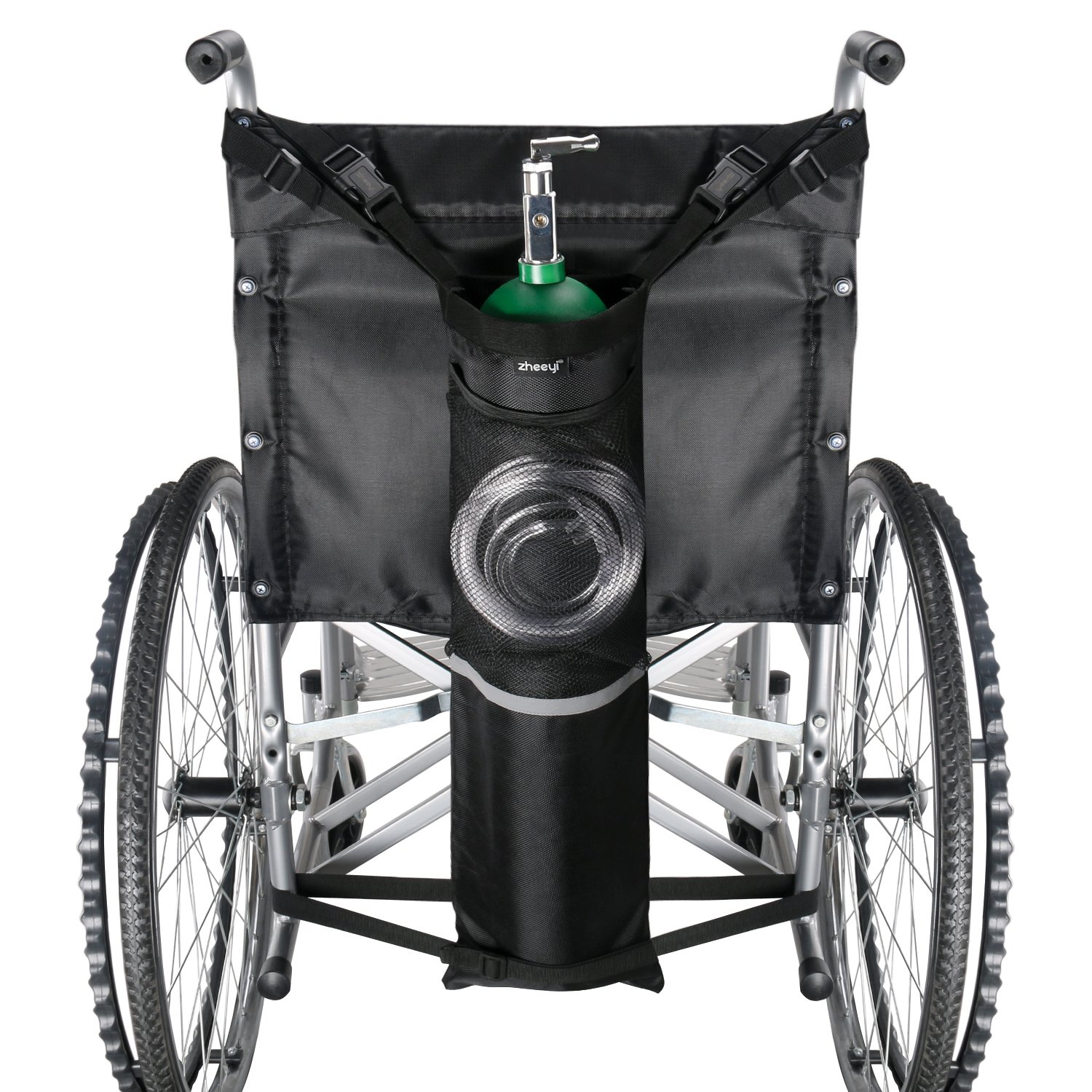 """ZHEEYI Wheelchair Oxygen Tank Holder with Buckles, Fits Any Wheelchair, Black (Fits """"D"""" and """"E"""" Cylinders)"""