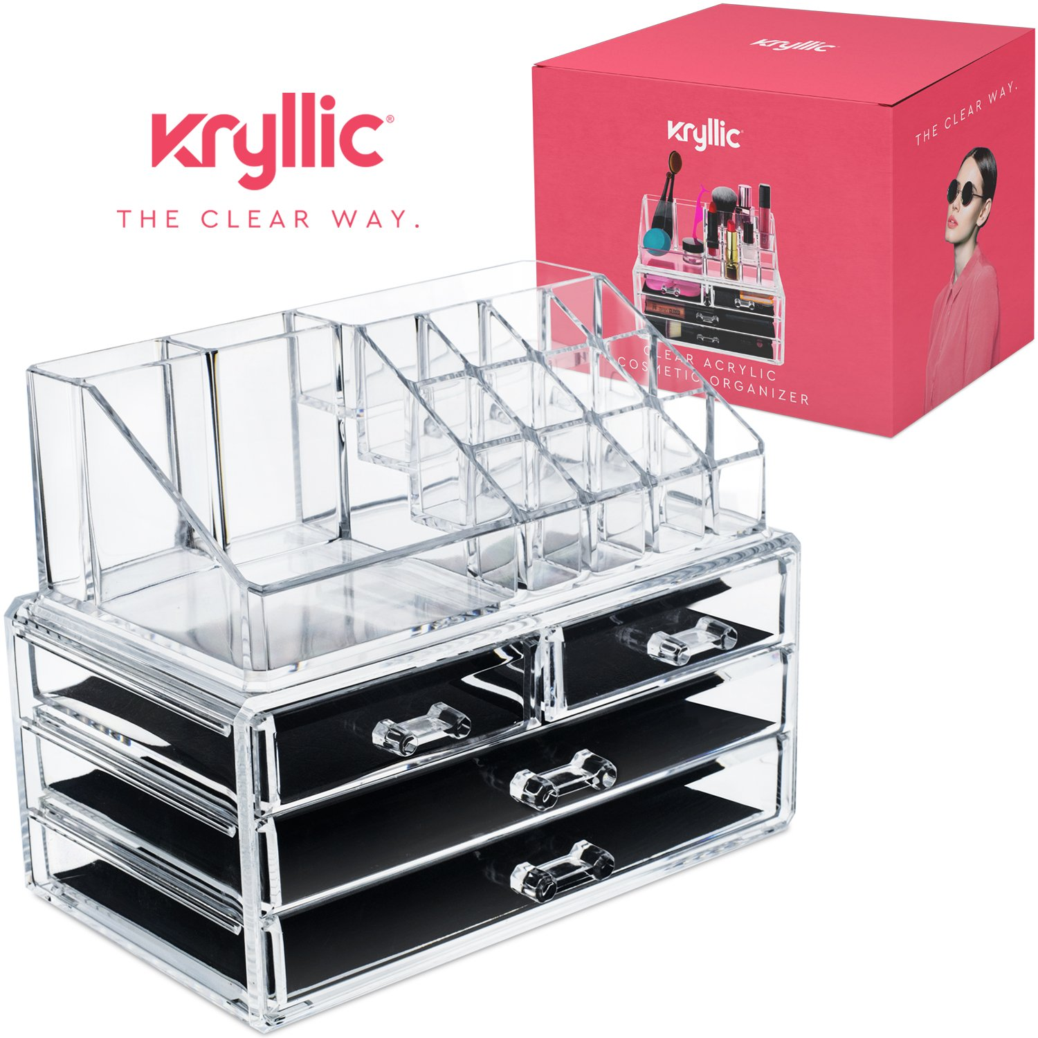 Lipstick bathroom set - Acrylic Jewelry Cosmetic Vanity Organizer Great Box For Organizing Your Lipstick Nail Polish Makeup Brushes
