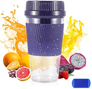 EASYXQ Portable Blender, Small Personal Blender for Smoothies and Shakes, Mini Blender Cup with Usb Rechargeable, Jucie Cup for Kitchen, Sports, Travel, Gym, home and office (Blue)