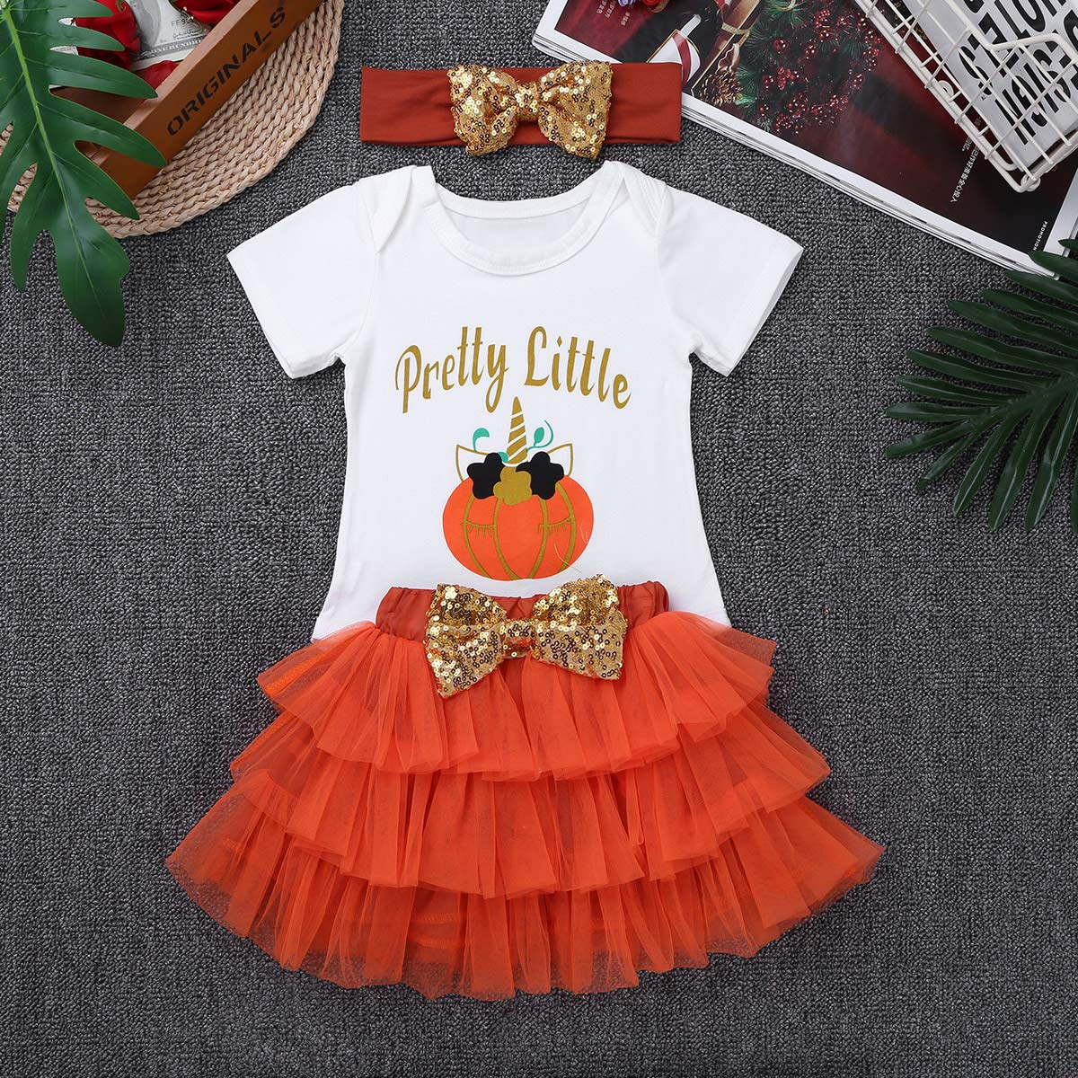 IEFIEL D/éguisement Halloween B/éb/é Filles Citrouille Barboteuse T-Shirt /& Jupe /& Bandeau Dessin/ée V/êtement Anniversaire B/éb/é Outfits Set 0-12 Mois